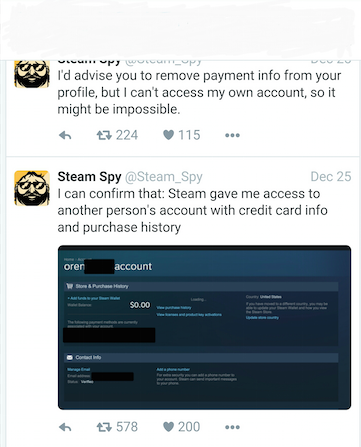 Steam data breach Twitter confirmation